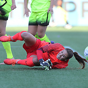 Seattle Reign FC goalkeeper Hope Solo (1) makes a save against Orlando Pride forward Alex Morgan (13) during a NWSL soccer match at Camping World Stadium on May 8, 2016 in Orlando, Florida. (Alex Menendez via AP)