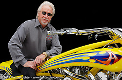 Arlen Ness on his custom known as Top Banana that he built for his second Biker Build-Off. Dublin, CA. Photograph ©2004 Michael Lichter