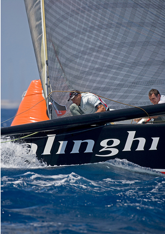 Race 5, ALINGHI wins over <br /> Emirates Team New Zealand by 19 seconds<br /> 32nd America's Cup, 2007<br /> Valencia, Spain<br /> © Daniel Forster