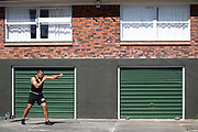 Covid-19 Level 4 Lockdown - New Zealand Professional Heavyweight boxer Junior Fa trains in his driveway at their Papakura home, during the Covid-19 Level 4 Lockdown. Auckland, New Zealand.  10  April  2020       Photo: Brett Phibbs / www.photosport.nz