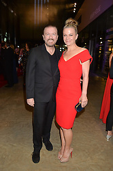 RICKY GERVAIS and JANE FALLON at the GQ Men of The Year Awards 2016 in association with Hugo Boss held at Tate Modern, London on 6th September 2016.