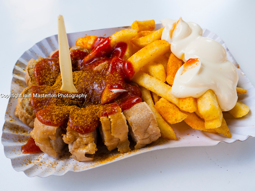Detail of plate of Currywurst in Berlin Germany