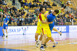 Naumche Mojsovski of F.Y.R. Macedonia and Vid Poteko of Slovenia during friendly handball match between National Teams of Slovenia and F.Y.R. of Macedonia before EHF EURO 2016 in Poland on January 5, 2016 in Arena Zlatorog, Celje, Slovenia. Photo by Urban Urbanc / Sportida