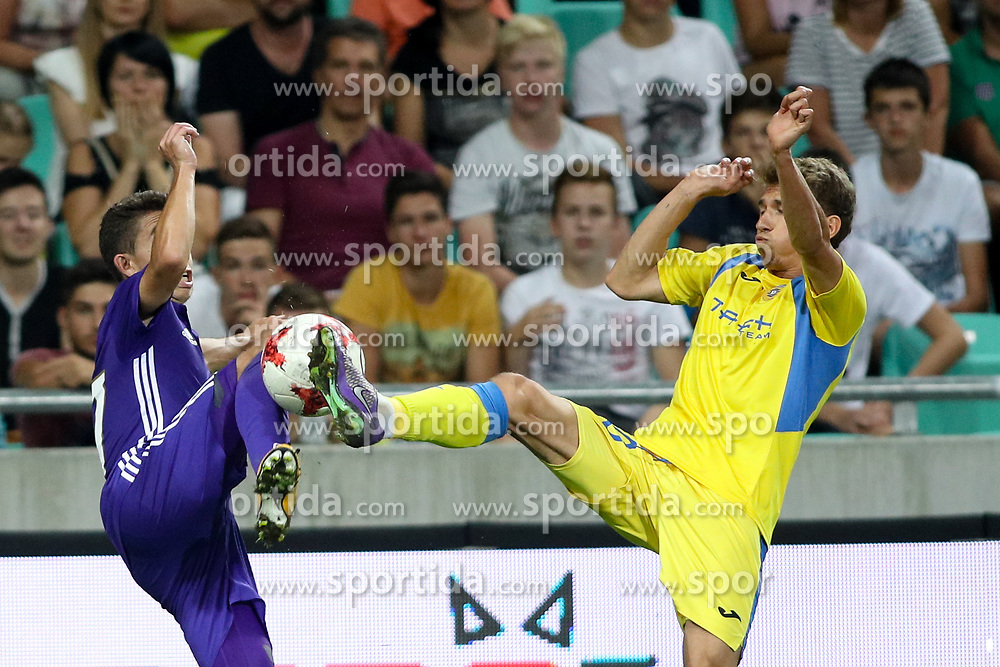 Maxime Lopez of Olympic Marseille and Petar Franjic of NK Domzale during football match between NK Domzale and Olympique de Marseille in First game of UEFA Europa League playoff round, on August 17, 2017 in SRC Stozice, Ljubljana, Slovenia. Photo by Morgan Kristan / Sportida