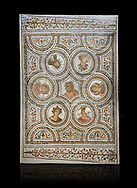 Picture of a Roman mosaics design depicting the Four Seasons; from the ancient Roman city of Thysdrus. 3rd century AD. El Djem Archaeological Museum; El Djem; Tunisia. Against a black background .<br /> <br /> If you prefer to buy from our ALAMY PHOTO LIBRARY Collection visit : https://www.alamy.com/portfolio/paul-williams-funkystock/roman-mosaic.html . Type - El Djem - into the LOWER SEARCH WITHIN GALLERY box. Refine search by adding background colour, place, museum etc<br /> <br /> Visit our ROMAN MOSAIC PHOTO COLLECTIONS for more photos to download as wall art prints https://funkystock.photoshelter.com/gallery-collection/Roman-Mosaics-Art-Pictures-Images/C0000LcfNel7FpLI