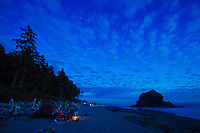 Camping on Second Beach in Olympic National Park, WA