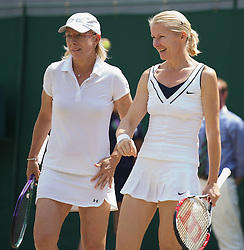 03.07.2011, Wimbledon, London, GBR, WTA Tour, Wimbledon Tennis Championships, Finale, im Bild Martina Navratilova (USA) and Jana Novotna (CZE) in action during the Ladies' Invitation Doubles Final match on day thirteen of the Wimbledon Lawn Tennis Championships at the All England Lawn Tennis and Croquet Club. EXPA Pictures © 2011, PhotoCredit: EXPA/ Propaganda/ David Rawcliffe +++++ ATTENTION - OUT OF ENGLAND/UK +++++