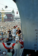 A 28.5 MG IMAGE OF:..Jackie Kennedy and Caroline at the christening of the air craft carrier JFK.  The man helping Caroline  is probably the CEO of the Newport News Ship Building at that time...Photo by Dennis Brack  B 4