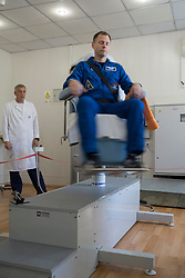 Expedition 57 prime crew member Nick Hague of NASA takes a spin in a rotating chair to test his vestibular system as part of pre-launch activities, Wednesday, Oct. 3, 2018 at the Cosmonaut Hotel in Baikonur, Kazakhstan. Hague and Alexey Ovchinin of Roscosmos are scheduled to launch on Oct. 11 onboard the Soyuz MS-10 spacecraft from the Baikonur Cosmodrome in Kazakhstan for a six-month mission on the International Space Station. Photo Credit: (NASA/Victor Zelentsov)