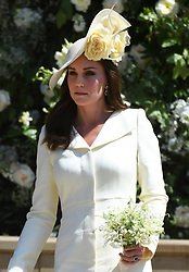 © Licensed to London News Pictures. 19/05/2018. London, UK.  CATHERINE, DUCHESS OF CAMBRIDGE at the wedding of Prince Harry, The Duke of Sussex and Meghan Markle, The Duchess of Sussex at St George's Chapel in Windsor Castle. Photo credit: LNP