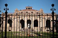 Terme del Corallo or Acque della salute. Art nouveau detail of the main entrance gate