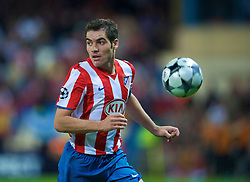 MADRID, SPAIN - Wednesday, October 22, 2008: Club Atletico de Madrid's Antonio Lopez in action against Liverpool during the UEFA Champions League Group D match at the Vicente Calderon. (Photo by David Rawcliffe/Propaganda)