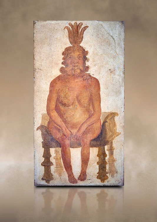 Roman fresco wall painting from the Sacrarium of the Temple of Isis in Pompeii depicting the Egyptian god Bes, God of war but also childbirth and the home, and was associated with sexuality, humour, music and dancing, North wall of Sacrarium, Naples National Archaeological Museum , inv 1.72 , Naples National Archaeological Museum , art background .<br /> <br /> If you prefer to buy from our ALAMY PHOTO LIBRARY  Collection visit : https://www.alamy.com/portfolio/paul-williams-funkystock - Scroll down and type - Roman Fresco Naples  - into LOWER search box. {TIP - Refine search by adding a background colour as well}.<br /> <br /> Visit our ROMAN ART & HISTORIC SITES PHOTO COLLECTIONS for more photos to download or buy as wall art prints https://funkystock.photoshelter.com/gallery-collection/The-Romans-Art-Artefacts-Antiquities-Historic-Sites-Pictures-Images/C0000r2uLJJo9_s0