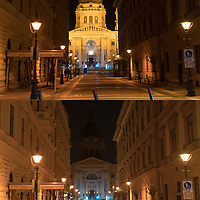 Combination image shows Budapest landmark Saint Stephen Basilica with normal decoration lights turned on and off during Earth Hour in downtown Budapest, Hungary on March 28, 2020. ATTILA VOLGYI