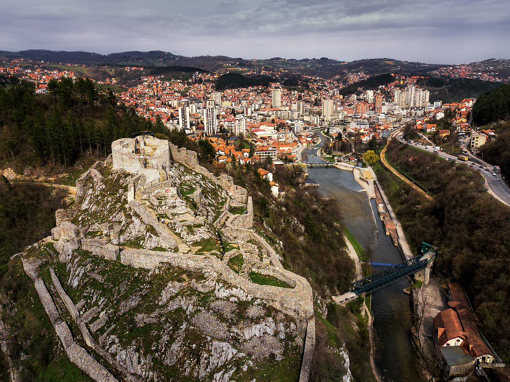 Uzice and the old Fortress, Serbia