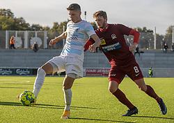 Frederik Juul Christensen (FC Helsingør) og Nicolai Dohn (Skive IK) under kampen i 1. Division mellem FC Helsingør og Skive IK den 18. oktober 2020 på Helsingør Stadion (Foto: Claus Birch).