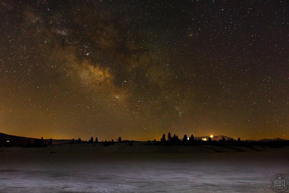 """Frozen Prosser Reservoir at Night 1"" - Photograph of the Milky Way above a frozen over Prosser Reservoir."