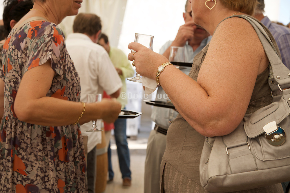 people discussing at a wine tasting event France