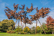 Conrad Shawcross, The Dappled Light<br /> of the Sun IV, 2015, <br /> Victoria Miro - Frieze Sculpture Park London 2015, Regents Park, London. The Frieze Sculpture Park 2015 comprises 16 new and historical works, set in the English Gardens between Frieze Masters and Frieze London. Selected by Clare Lilley (Director of Programme, Yorkshire Sculpture Park) and with free public access, the Frieze Sculpture Park gives visitors to The Regent's Park a rare opportunity to encounter exceptional sculpture and installation art by international artists in the open air. Works for 2015 include: Lock (1976-7), a major installation by Richard Serra, which Peter Freeman (New York) will be shown for the first time publicly since it was exhibited at the Whitney Museum in 1976; Anri Sala's Holey Wall (Should I Stay or Should I Go) (2014-15), remade for Frieze together with live performances originally commissioned for the 12th Havana Biennial (Galerie Chantal Crousel, Paris & Marian Goodman Gallery, London); a new solar-powered sound and light work by Haroon Mirza (Lisson Gallery, London); Earth Play (1979), Seung-Taek Lee's monumental balloon model of the earth (Gallery Hyundai, Seoul); Open Screen (2014) by Carol Bove (David Zwirner, London) and an impressive 11th-14th Century AD pre-Ekoi monolith from Western Africa (Didier Claes, Brussels). The fair is open to the public 14–17 October.