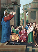 St Paul the Apostle preaching to the Athenians.  'Bible' Acts. Chromolithograph c1860. Colour.