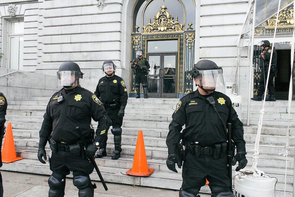 Riot cops guarding San Francisco City hall, December 2014