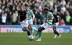 Celtic's Scott Sinclair (R) scores their first goal against Heart of Midlothian during the Betfred Cup semi final match at BT Murrayfield Stadium, Edinburgh.