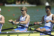 Brive, FRANCE,  GBR JM4-, bow Andrew HOLMES, Jason PHILLIPS, William PERHAM and Constantine LOULOUDIS. At the start,  2009 FISA Junior World Rowing Championships,  Brive La GAILLARDE. Wednesday 05/08/2009 [Mandatory Credit. Peter Spurrier/Intersport Images]