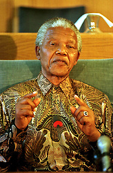 May 9, 1996 - Cape Town, South Africa - NELSON MANDELA speaks at a presser upon the resignation of the NP.  (Credit Image: © Sasa Kralj/JiwaFoto/ZUMAPRESS.com)