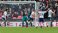 Football - 2017 / 2018 Premier League - Tottenham Hotspur vs. Southampton<br /> <br /> Harry Kane (Tottenham FC) turns away in celebration after he  heads home his 38th goal of the Calendar year to break the previous record set by Alan Shearer at Wembley Stadium.<br /> <br /> COLORSPORT/DANIEL BEARHAM