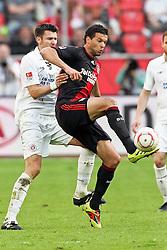 10.04.2011,  BayArena, Leverkusen, GER, 1. FBL, Bayer Leverkusen vs FC St. Pauli, 29. Spieltag, im Bild:  Michael Ballack (Leverkusen #13) (R) gegen Fabian Boll (St. Pauli #17) (L)  EXPA Pictures © 2011, PhotoCredit: EXPA/ nph/  Mueller       ****** out of GER / SWE / CRO  / BEL ******