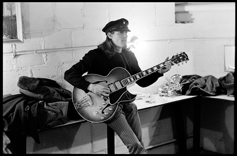 """Fall River, Massachusetts - 18 February 1968. Jim """"Motorhead"""" Sherwood of The Mothers of Invention prior to a performance. © 2020 Ed Lefkowicz<br /> <br /> For licensing of any of the images in this portfolio go to https://www.mptvimages.com/<br /> <br /> For fine art prints, get in touch with me directly."""