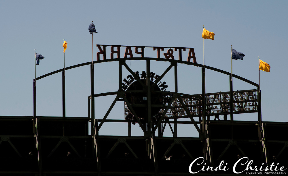 AT&T Park sports the blue and gold colors of the University of California on Saturday, Sept. 17, 2011, as seen from McCovey Cove in San Francisco, Calif. The Cal Bears are playing here while California Memorial Stadium is being retrofitted for seismic safety and modernized.  (© 2011 Cindi Christie/Cyanpixel Photography)