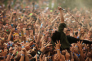 Crystal Castles dives into the crowd while performing on the opening day of Lollapalooza in Grant Park on Friday, August 5, 2011.