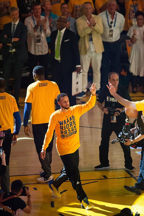 Golden State Warriors guard Stephen Curry (30) enters the court during pregame activities during Game 1 of the Western Conference Semifinals against the Utah Jazz at Oracle Arena in Oakland, Calif., on May 2, 2017. (Stan Olszewski/Special to S.F. Examiner)