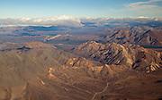 Alaska. Aerial view of Sable Mountains and Sable Pass looking south, Denali National Park.