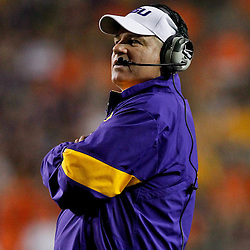 September 10, 2011; Baton Rouge, LA, USA;  LSU Tigers head coach Les Miles watches from the sideline against the Northwestern State Demons during the second half at Tiger Stadium. LSU defeat Northwestern State 49-3. Mandatory Credit: Derick E. Hingle
