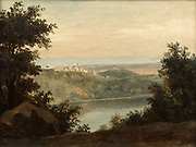 Lake Nemi near the town of Genzano'   by Pierre-Henri de Valenciennes (1750-1819) French painter. Lake Nemi, a small circular volcanic lake about 30 kilometers to the south of Rome.