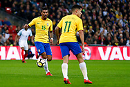 Brazil Barcelona midfielder Paulinho (15) in action  during the International Friendly match between England and Brazil at Wembley Stadium, London, England on 14 November 2017. Photo by Simon Davies.
