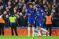 Chelsea midfielder Willian (22) celebrates with teammate Chelsea forward Gonzalo Higuain (9) after scoring a goal (1-0) during the The FA Cup fourth round match between Chelsea and Sheffield Wednesday at Stamford Bridge, London, England on 27 January 2019.