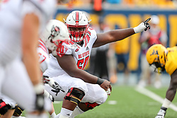 Sep 14, 2019; Morgantown, WV, USA; North Carolina State Wolfpack center Grant Gibson (50) during the first quarter against the West Virginia Mountaineers at Mountaineer Field at Milan Puskar Stadium. Mandatory Credit: Ben Queen-USA TODAY Sports