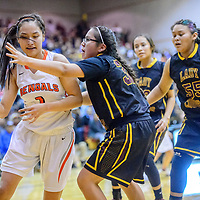Gallup Bengal Ashley Antone (1), left, drives baseline on Tohatchi Cougar Gabrielle Thomas (32) during the John Lomasney Invitational basketball tournament at Gallup High School Friday.