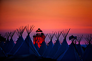 A view at sunset of the teepee village overlooking the Park, Glastonbury Festival 2010