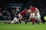 Alun Wyn Jones of Wales is tackled by Dan Cole of England ®. England v Wales, NatWest 6 nations 2018 championship match at Twickenham Stadium in Middlesex, England on Saturday 10th February 2018.<br /> pic by Andrew Orchard, Andrew Orchard sports photography