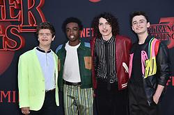 "Gaten Matarazzo, Caleb McLaughlin, Finn Wolfhard, and Noah Schnapp attend the premiere of Netflix's ""Stranger Things"" Season 3 on June 28, 2019 in Santa Monica, CA, USA. Photo by Lionel Hahn/ABACAPRESS.COM"