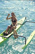 Polynesian Woman, Outrigger Canoe<br />