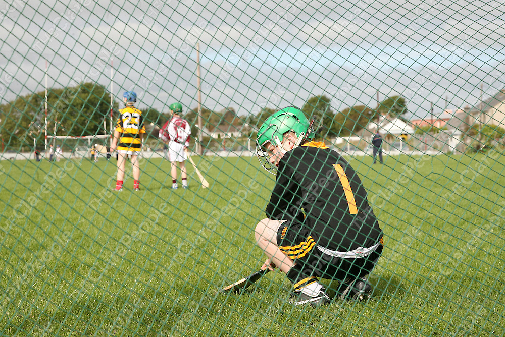 Tubber/Crusheen's Josh Monaghan takes a break during their game against St. Breckan's duirng the U-12 hurling finals in Corofin on Saturday.<br /><br />Photograph by Yvonne Vaughan.