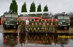 British Army brought in to provide Fire Cover in January & Febuary of 2003, during the fire fighers industrial dispute and strikes<br /> Members of 1st Batalion Dukes of Wellingtons Regement (West Riding) train with fire hoses to man the Green Goddess in Barnsley and Sheffield <br /> <br /> Image Copyright Paul David Drabble<br /> 2003/01/27 13:16:33.6