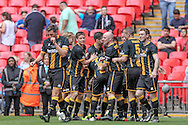 Morpeth Town players celebrate taking the lead in the early seconds of the second half. 2-1 during the FA Vase match between Hereford and Morpeth Town at Wembley Stadium, London, England on 22 May 2016. Photo by Mark Doherty.