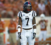 AUSTIN, TX - SEPTEMBER 14: Trae Elston #7 of the Mississippi Rebels looks on against the Texas Longhorns on September 14, 2013 at Darrell K Royal-Texas Memorial Stadium in Austin, Texas.  (Photo by Cooper Neill/Getty Images) *** Local Caption *** Trae Elston