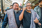 Both leaving the Royal Academy in a media scrummage - Anish Kapoor and Ai Weiwei go for a walk in London - The two artists have joined hands to walk out of London on Thursday. Each will carry a single blanket as a symbol of the need that faces 60 million refugees in the world today. The Artists have said that they welcome Londoners to join them along their route and ask that Londoners too bring a blanket in gesture of support. The artists will repeat this action in cities across the world over the next few months. The walk started at 10am on Thursday 17th September, at the Royal Academy of Arts passed: Piccadilly Circus; Trafalgar Square; Whitehall;  St Paul's Cathedral; Bank and ended up at Stratford.